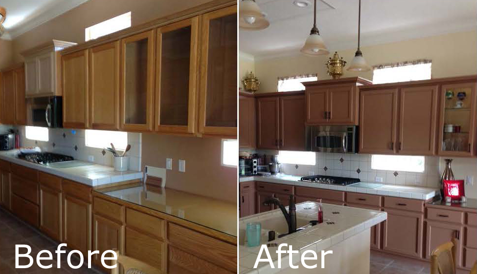 Staining kitchen cabinets before and after pictures for Refinishing kitchen cabinets before and after